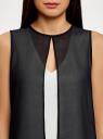 Блузка двуцветная многослойная oodji #SECTION_NAME# (черный), 14901418/26546/1229B - вид 4