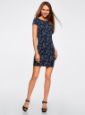 Платье трикотажное с принтом oodji для женщины (синий), 14001117-2/16564/7975E