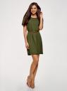 Платье вискозное с ремнем oodji #SECTION_NAME# (зеленый), 11901154-2/47741/6800N - вид 2