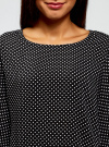 Блузка вискозная с воланами oodji #SECTION_NAME# (черный), 11405136/46436/2910D - вид 4