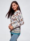 Блузка прямого силуэта с V-образным вырезом oodji #SECTION_NAME# (белый), 21400394-3M/24681/1219E - вид 2