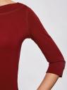 Футболка с рукавом 3/4 oodji для женщины (красный), 24201010B/46147/4900N