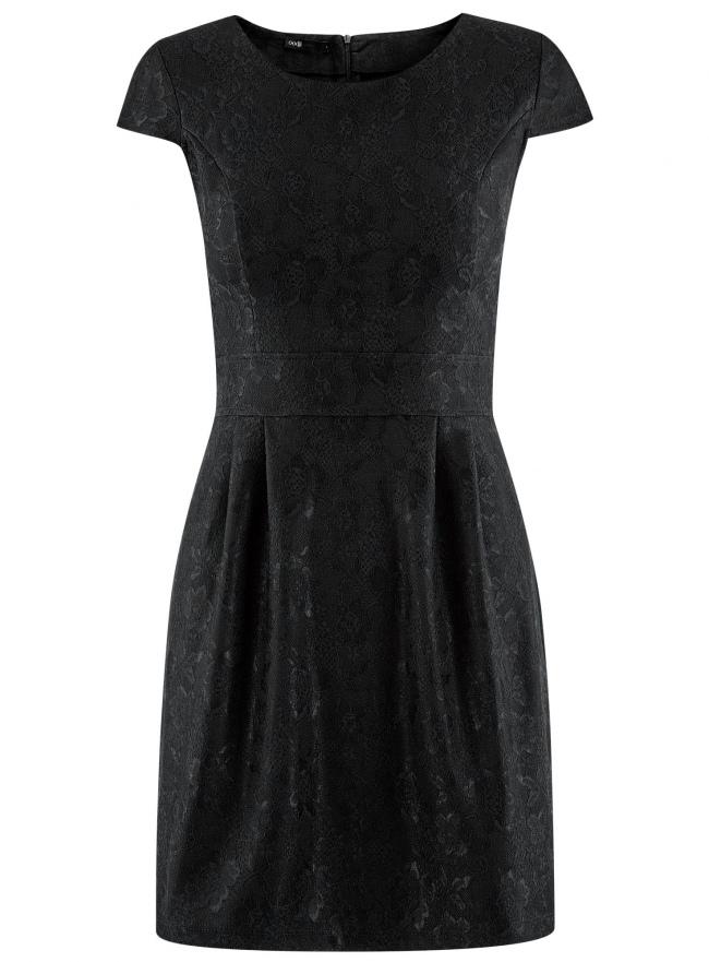 Платье трикотажное кружевное oodji для женщины (черный), 14001154/42644/2900L