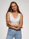 Майка хлопковая с кружевом oodji для женщины (белый), 14315011/48684/1200N