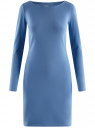 Платье трикотажное облегающего силуэта oodji для женщины (синий), 14001183B/46148/7501N