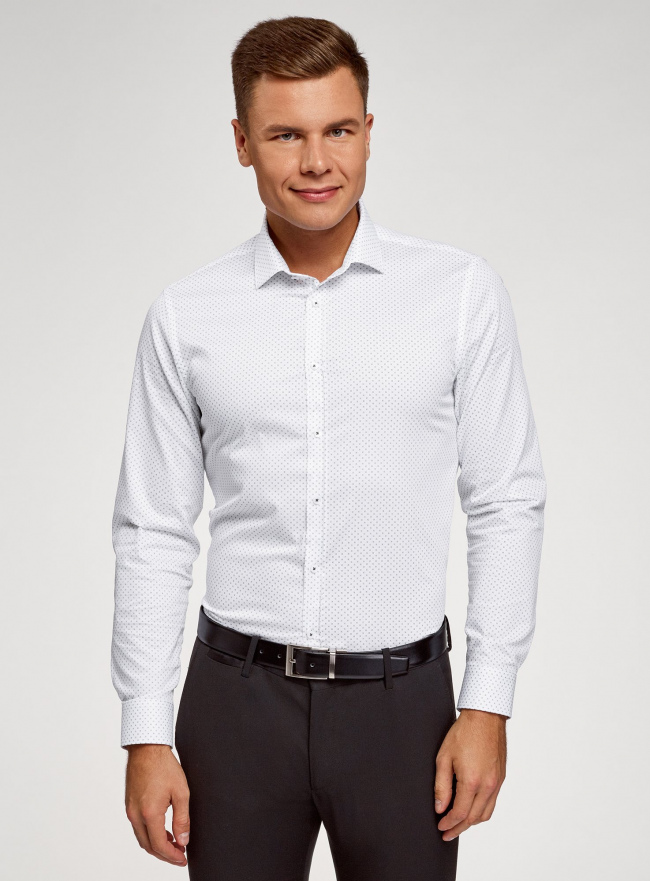 Рубашка приталенного силуэта с длинным рукавом oodji #SECTION_NAME# (белый), 3L110372M/49641N/1079G