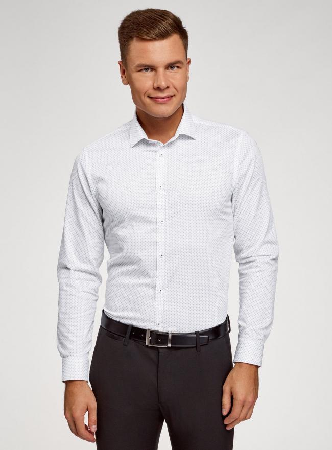 Рубашка приталенного силуэта с длинным рукавом oodji для мужчины (белый), 3L110372M/49641N/1079G