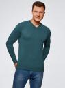 Пуловер базовый с V-образным вырезом oodji #SECTION_NAME# (зеленый), 4B212007M-1/34390N/6901M - вид 2