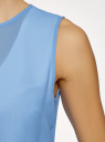 Блузка двуцветная многослойная oodji #SECTION_NAME# (синий), 14901418/26546/1202B - вид 5