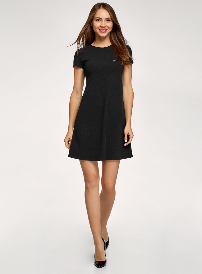 Платье трикотажное А-силуэта oodji для женщины (черный), 14005147/49476/2900X