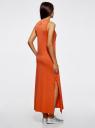 Платье макси с черепом из страз oodji для женщины (оранжевый), 14005134/45204/5991P