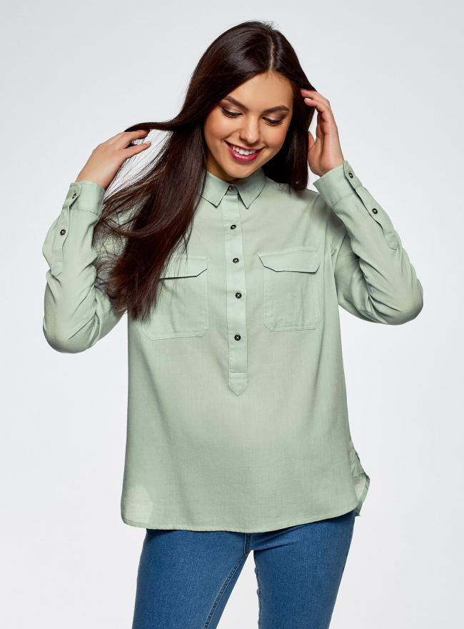 Рубашка хлопковая с нагрудными карманами oodji #SECTION_NAME# (зеленый), 13L11009/45608/7000N