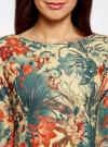 Платье трикотажное принтованное oodji #SECTION_NAME# (разноцветный), 14001150-3/33038/3375F - вид 4