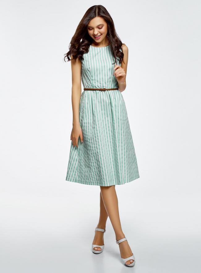 Платье с поясом без рукавов oodji #SECTION_NAME# (зеленый), 12C13008-1/46683/6512S