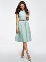 Платье с поясом без рукавов oodji #SECTION_NAME# (зеленый), 12C13008-1/46683/6512S - вид 2