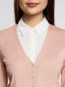 Жакет вязаный базовый с V-образным вырезом oodji для женщины (розовый), 73212151-8B/24525/4B00N