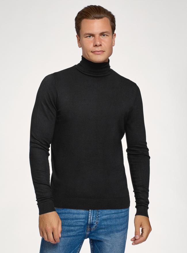 Свитер базовый из вискозы oodji для мужчины (черный), 4B312003M-3/50037N/2900N