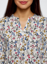 Блузка прямого силуэта с рукавом 3/4 oodji #SECTION_NAME# (слоновая кость), 11411188/26346/3069F - вид 4