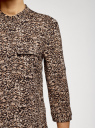 Блузка вискозная с регулировкой длины рукава oodji #SECTION_NAME# (коричневый), 11403225-9B/48458/3729A - вид 5