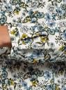 Блузка с декоративными завязками и оборками на воротнике oodji для женщины (слоновая кость), 11411091-2/36215/1219F