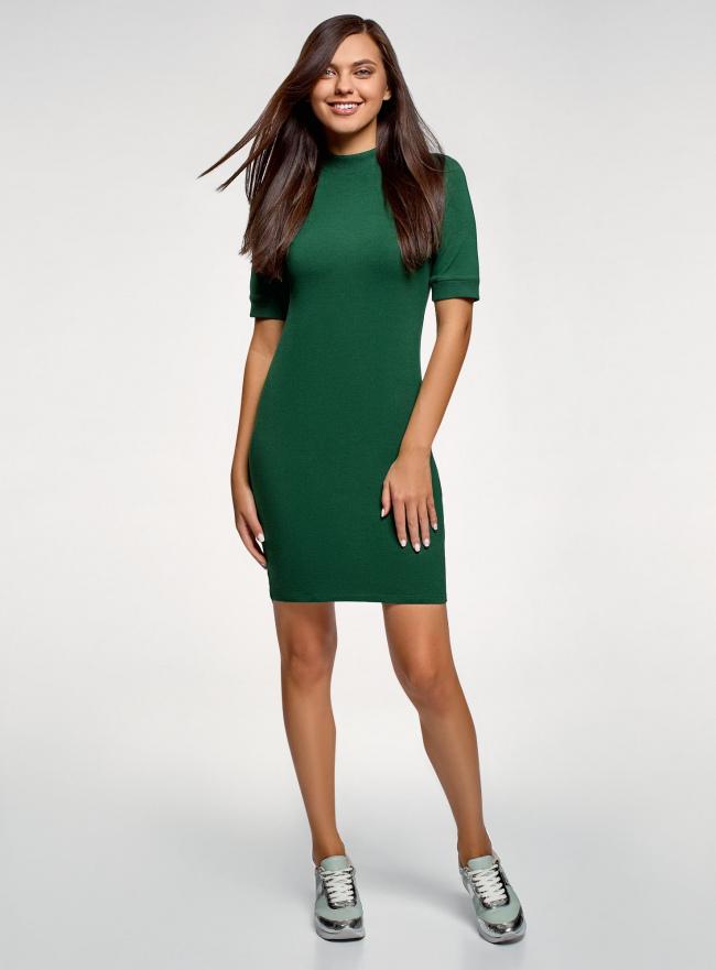 Платье трикотажное с воротником-стойкой oodji #SECTION_NAME# (зеленый), 14001229/47420/6900N