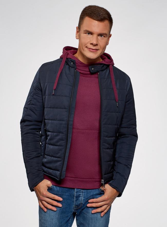 Куртка стеганая с воротником-стойкой oodji для мужчины (синий), 1L111039M/48723N/7900N