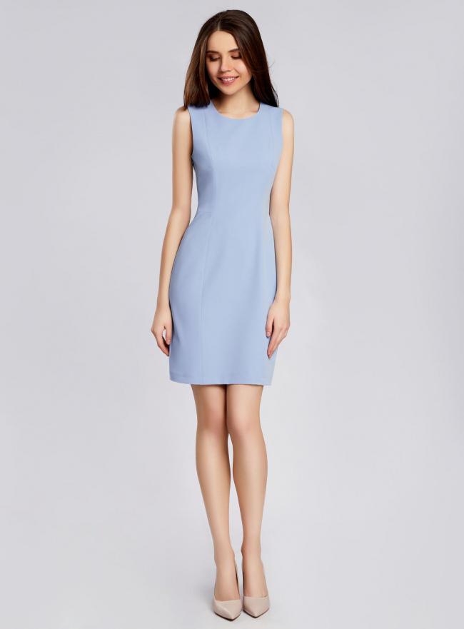 Платье базовое без рукавов oodji для женщины (синий), 21902064B/18600/7000N