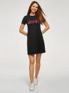 Платье трикотажное с декором oodji #SECTION_NAME# (черный), 14000162-18/47481/294DP - вид 2