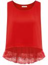 Топ с кружевной отделкой по низу oodji для женщины (красный), 14911012/43414/4500N