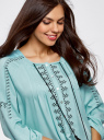 Платье вискозное с вышивкой и декоративными завязками oodji #SECTION_NAME# (бирюзовый), 21914003/33471/7300N - вид 4