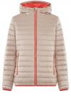 Куртка утепленная с капюшоном oodji #SECTION_NAME# (бежевый), 10203082-1/43363/354DB