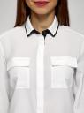 Блузка свободного силуэта из струящейся ткани oodji для женщины (белый), 11401282/46123/1229B