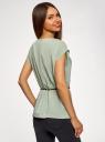 Блузка из вискозы с пояском oodji #SECTION_NAME# (зеленый), 11400345-5B/48756/6000N - вид 3