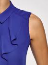 Топ из струящейся ткани с жабо oodji для женщины (синий), 24911001-1B/48854/7501N - вид 5