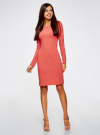 Платье трикотажное облегающего силуэта oodji для женщины (розовый), 14001183B/46148/4101N - вид 2