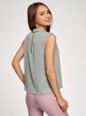 Блузка базовая без рукавов с воротником oodji #SECTION_NAME# (зеленый), 11411084B/43414/6000N - вид 3