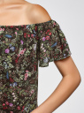 Топ вискозный с открытыми плечами oodji для женщины (черный), 14924001/42127/294CF
