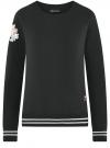 Свитшот хлопковый с принтом и вышивкой oodji #SECTION_NAME# (черный), 14807021-11/46919/2919P