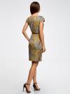 Платье трикотажное с ремнем oodji #SECTION_NAME# (желтый), 24008033-2/16300/5231E - вид 3