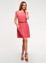Платье вискозное без рукавов oodji #SECTION_NAME# (розовый), 11910073B/26346/4101N - вид 6