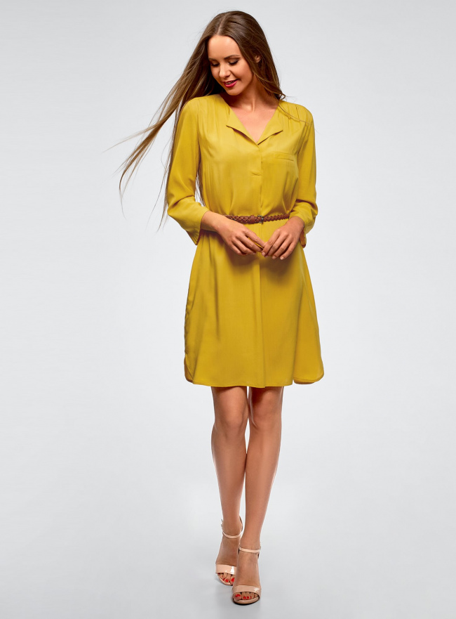 Платье вискозное с ремнем oodji #SECTION_NAME# (желтый), 11900180B/42540/5700N