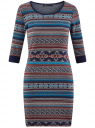 Платье жаккардовое с геометрическим узором oodji для женщины (синий), 14001064-5/46025/7949J