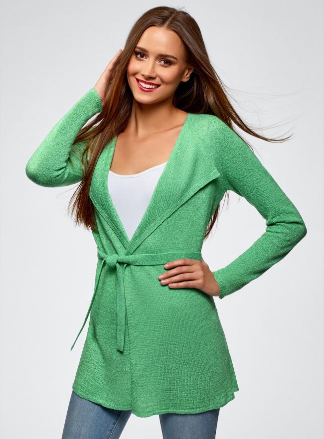 Кардиган из ленточной пряжи oodji для женщины (зеленый), 73205043-3B/46604/6500N