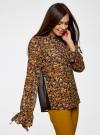 Блузка из комбинированных тканей с модными манжетами oodji #SECTION_NAME# (черный), 11411119/17288/2952F - вид 2