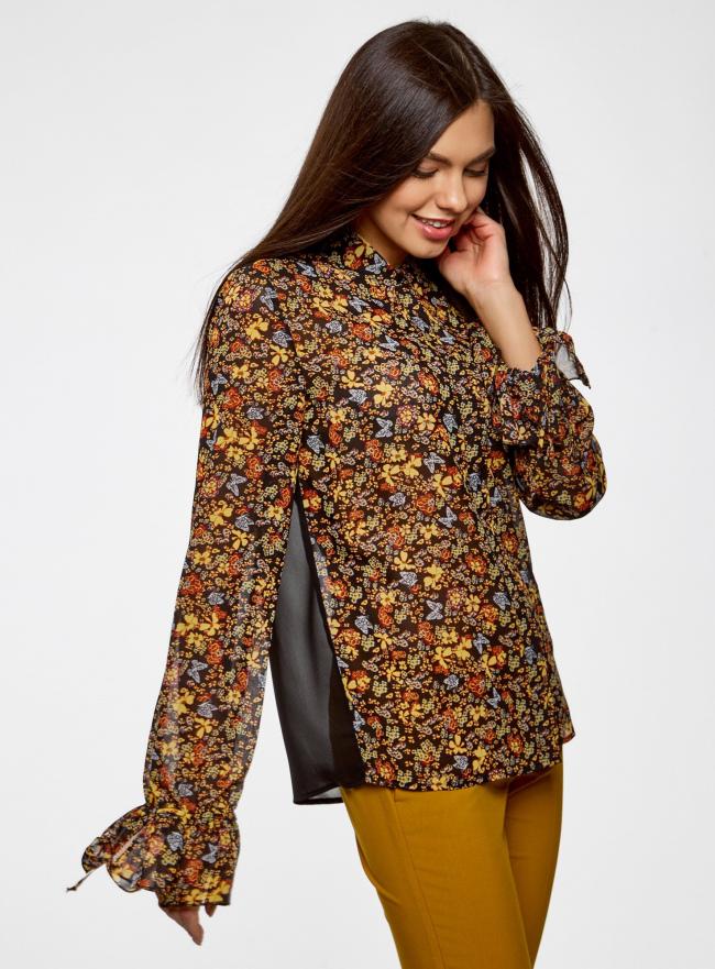Блузка из комбинированных тканей с модными манжетами oodji #SECTION_NAME# (черный), 11411119/17288/2952F