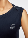 Платье из ткани пике oodji #SECTION_NAME# (синий), 14005074-1/45602/7900N - вид 5
