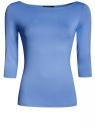 Футболка базовая с рукавом 3/4 oodji для женщины (синий), 24211001B/45297/7500N