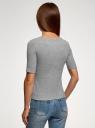 Джемпер в рубчик с круглым вырезом oodji для женщины (серый), 14701075/46412/2300M