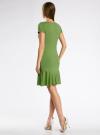 Платье трикотажное с воланами oodji #SECTION_NAME# (зеленый), 14011017/46384/6200N - вид 3