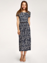 Платье приталенного силуэта с поясом oodji для женщины (синий), 14001232/49253/7912O